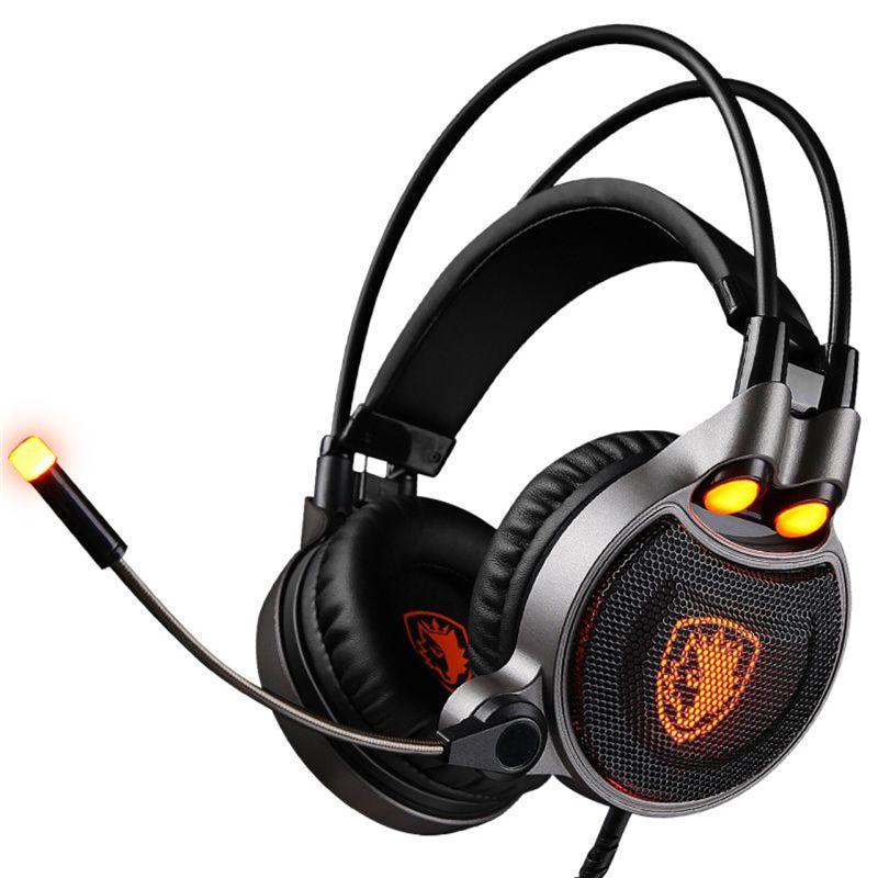 SADES R1 casque de jeu USB 7.1 Surround son Vibration sur l'oreille casque d'ordinateur avec LED lumière de respiration pour LOL WOW CF CS