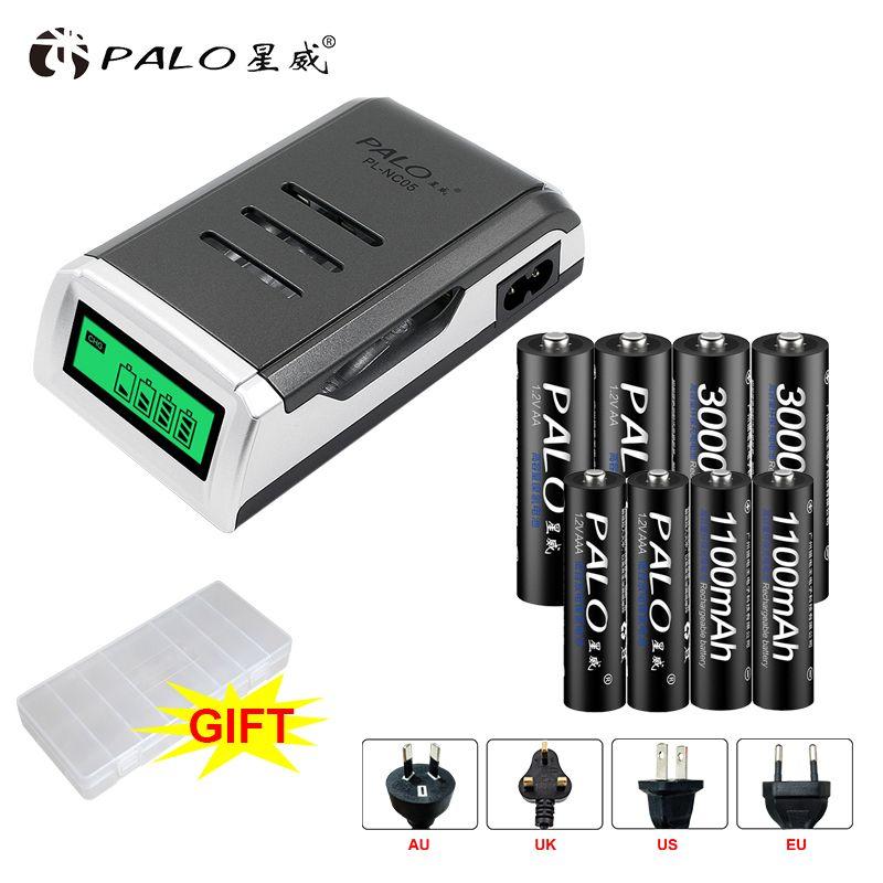 PALO 4 Slots LCD Affichage Écran Intelligent Intelligent Chargeur de Batterie bateria Pour AA AAA batteria + AA AAA rechargeable batteries