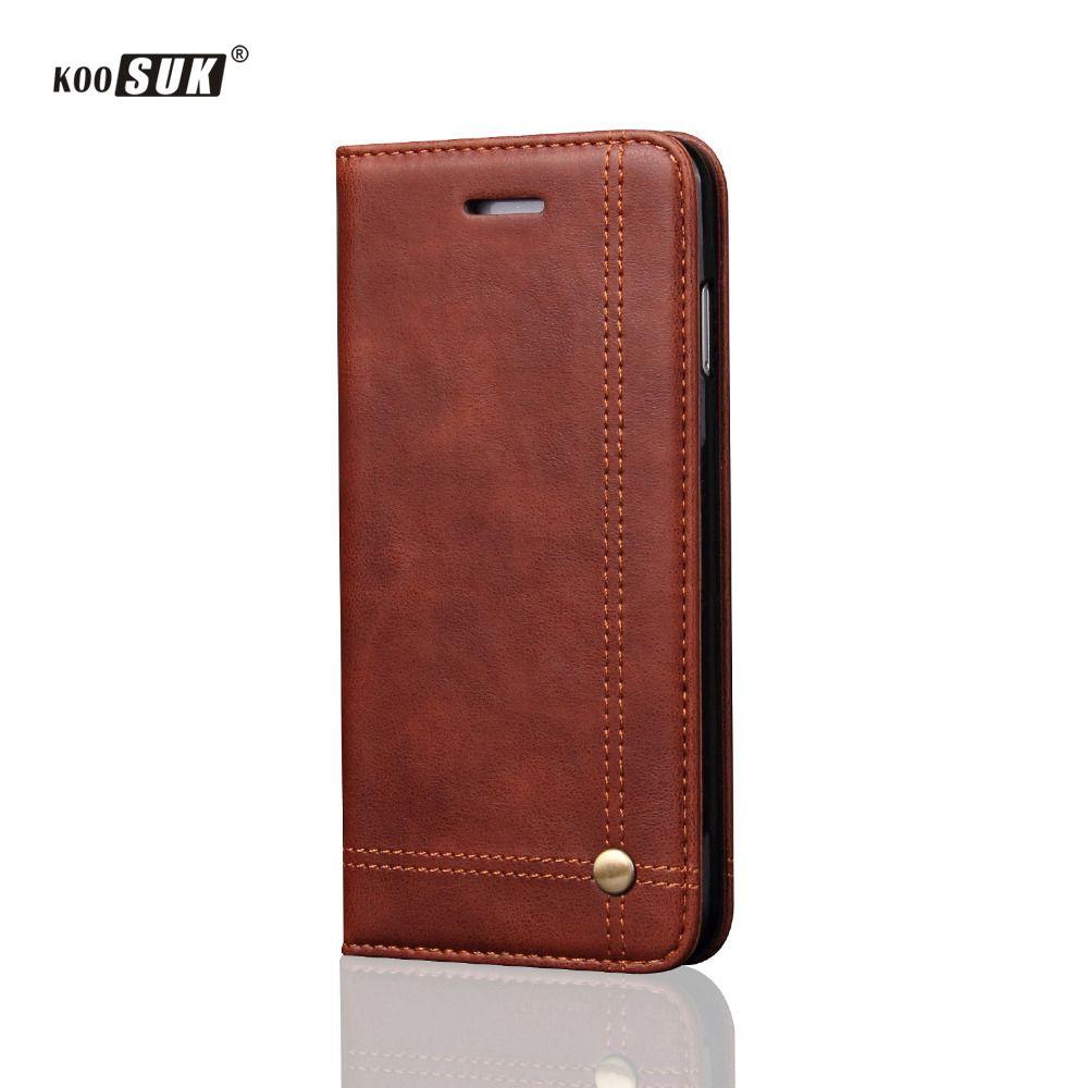 Lusxury Cas pour iPhone 6 7 8 Plus Couverture En Cuir pour iPhone 6 6 S Flip Auto Adsorber Titulaire de la Carte Cas pour l'iphone SE 5 5S Téléphone sacs