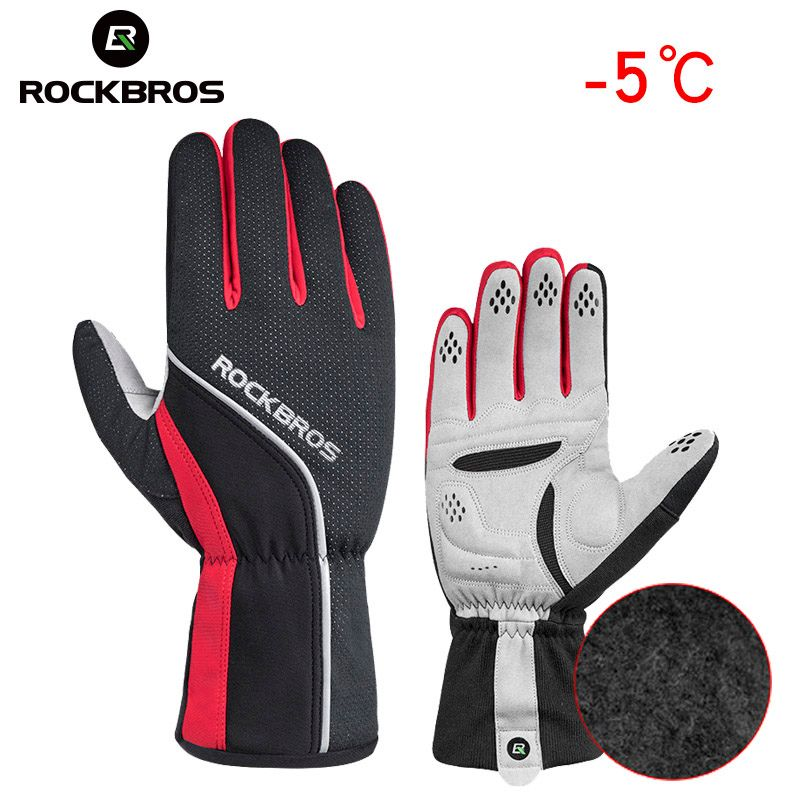 ROCKBROS Unisex Winter Skiing Glove Sponge Padded Thermal Full Finger Cycling Gloves Windproof Men's Outdoor Sport Bicycle Glove