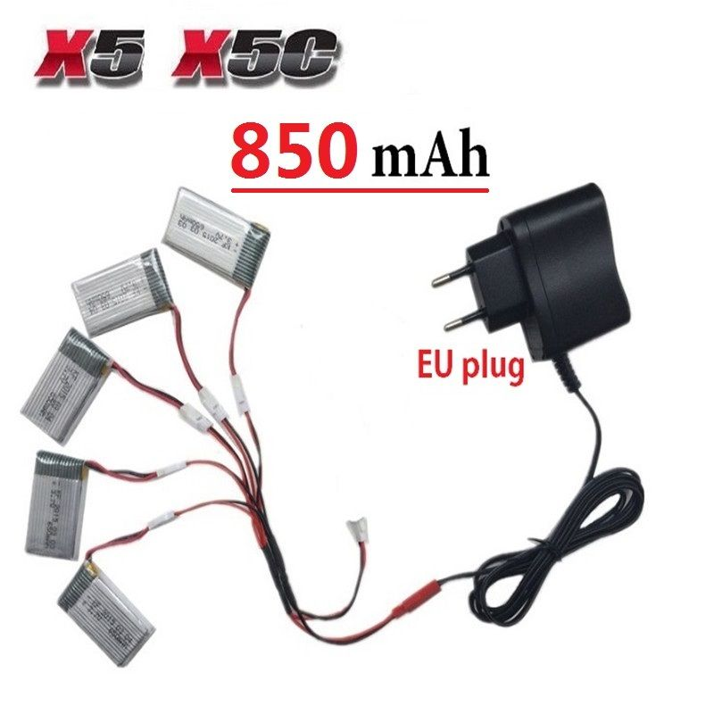 Teeggi 850 mAh 3.7 V LiPo Batterie + Euro Plug AC Chargeur pour SYMA X5C X5 X5SW X5HW X5HC RC Drone Quadcopter Batterie De Rechange pièces
