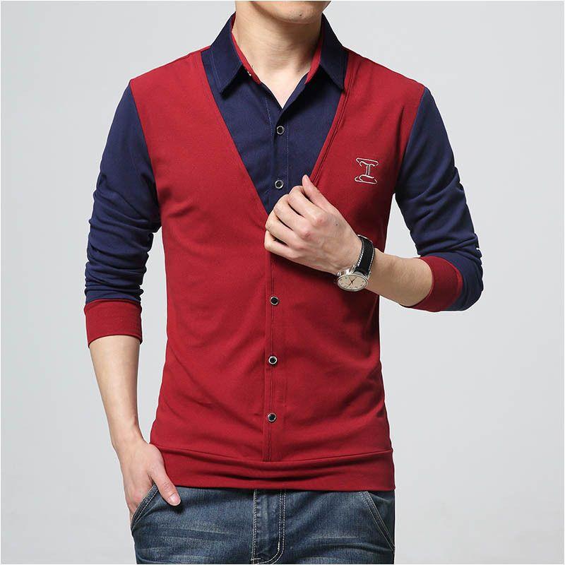 2017 New Autumn Fashion Patch Design Men's Shirt T-shirt Fake Two Long Sleeve Turn-down Collar Cotton T Shirt for Men 5XL