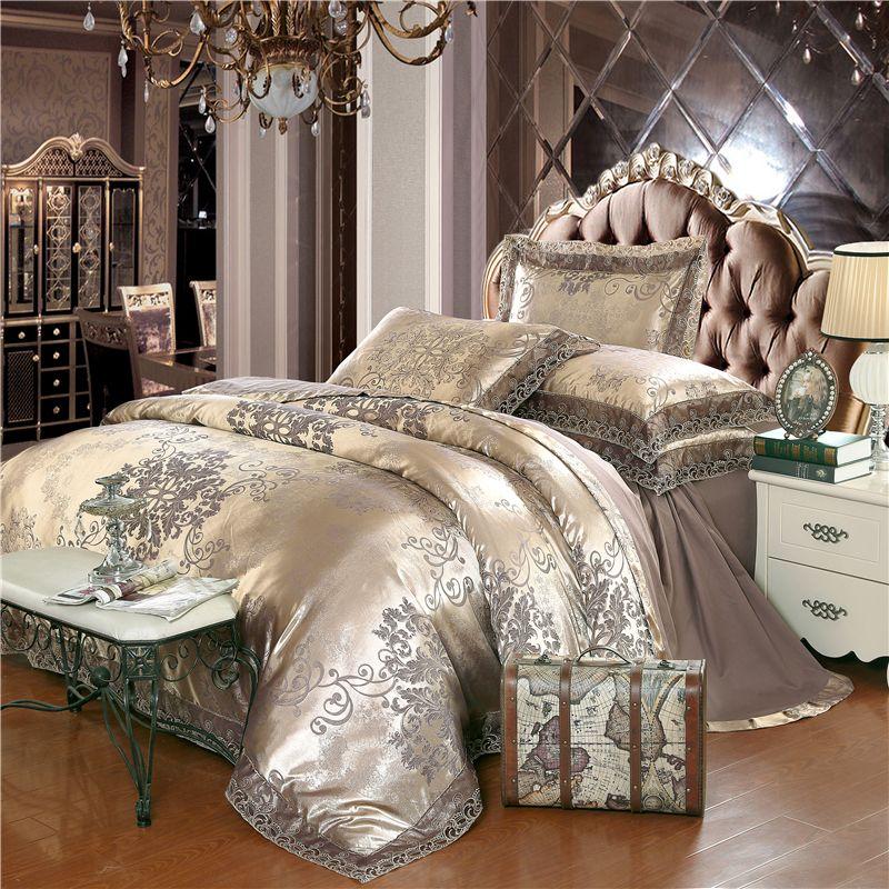 Gold silber kaffee jacquard luxus bettwäsche set königin/könig größe fleck bett set 4 stücke baumwolle seide spitze bettdecke abdeckung bettlaken sets