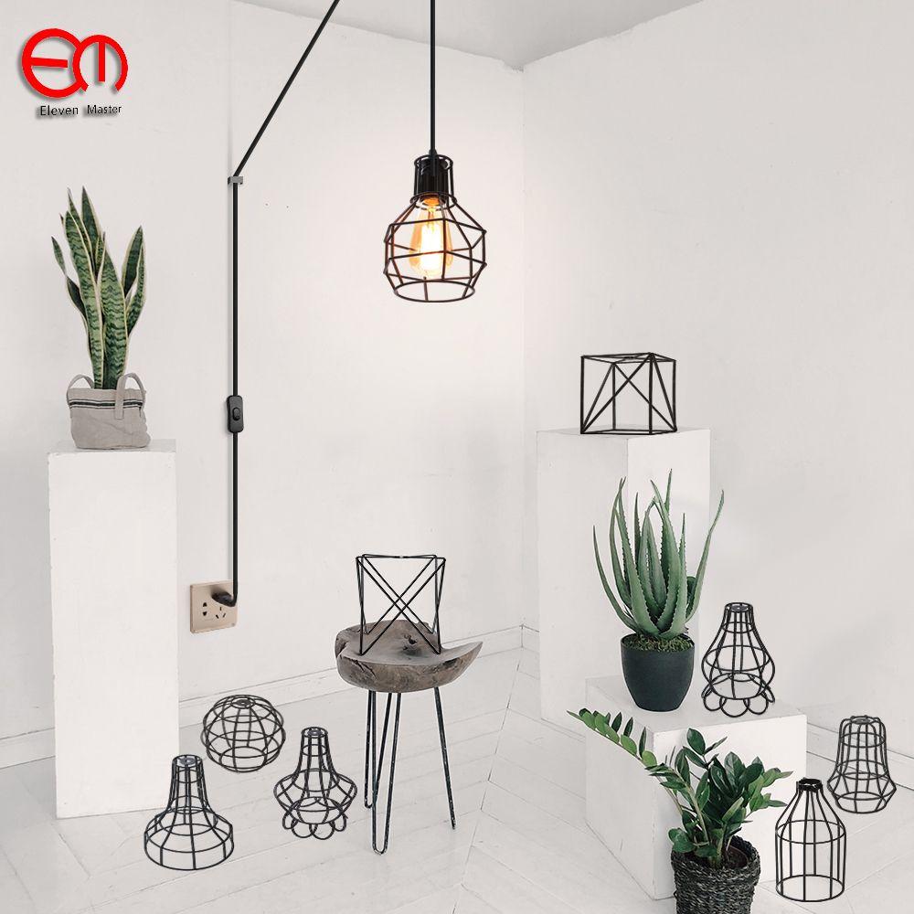 Longueur 500 cm moderne cage pendentif lumière UE plug fer rétro loft pyramide pendentif en métal lampe Lampe Suspendue E27 Intérieur ZDD0050