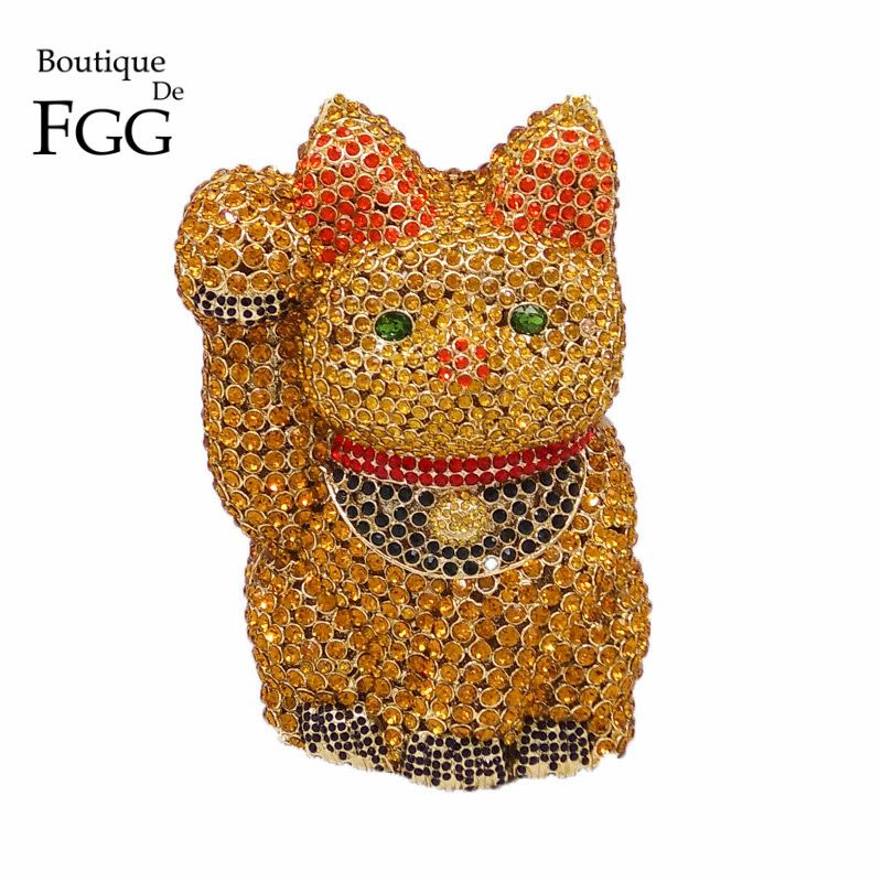 Dazzling Crystal Fortune Luck Cat Shape Women Gold Evening Bag Wedding Party Metal Clutches Purses Bridal Diamond Clutch Bag