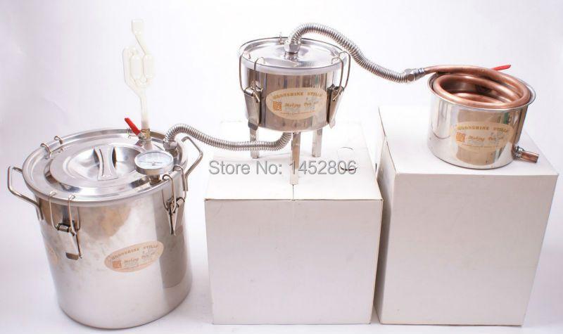 New 3 Pots DIY 3 Gal 12L Alcohol Moonshine Copper Still Water Wine Distiller Boiler Spirits Keg Home Brewing Kit