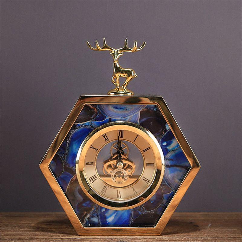 Creative Metal Alloy Clock with Deer Living Room TV Cabinet Desk Decoration Creative Desk Clock Ornaments Deer Clock Best Gift