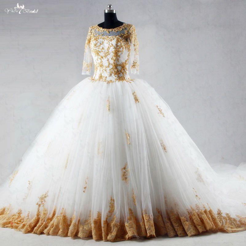 RSW1035 Drei viertel Ärmel Long Tail Brautkleider Weiß Und Gold Ballkleider