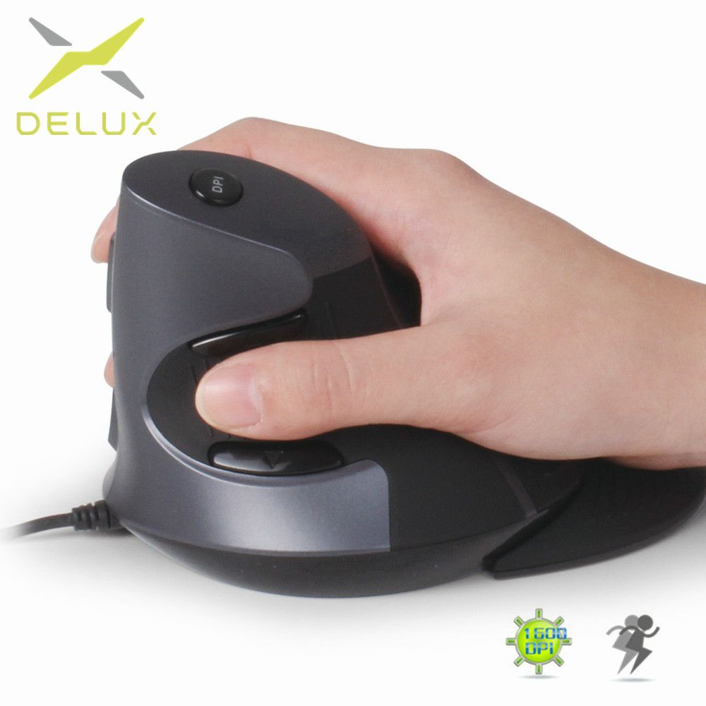 Delux M618 Ergonomic Office <font><b>Vertical</b></font> Mouse 6 Buttons 600/1000/1600 DPI Optical Right Hand Mice with Wrist mat For PC Laptop