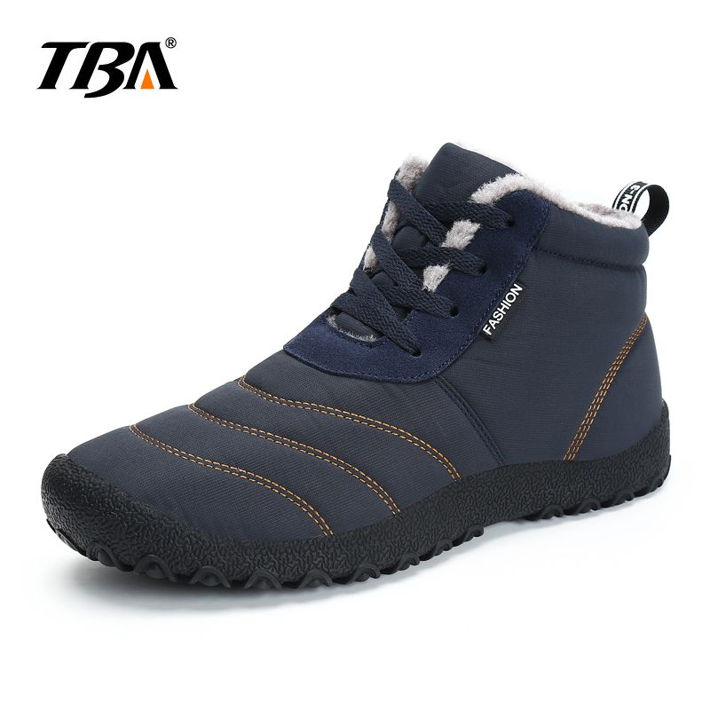 2017 TBA Men's Plush Ankle Snow Boots Warming Fabric Slip-on Ankle Boots For Male Men's Winter Outdoor Shoes Plus Size 35~46