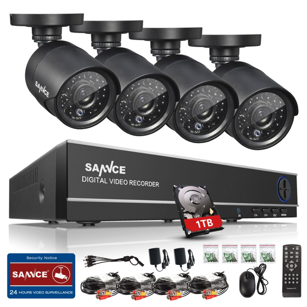SANNCE HD 4CH CCTV System HDMI AHD DVR Kit 720P Outdoor Security Waterproof Night Vision Surveillance Kits With 4 Cameras 1TB