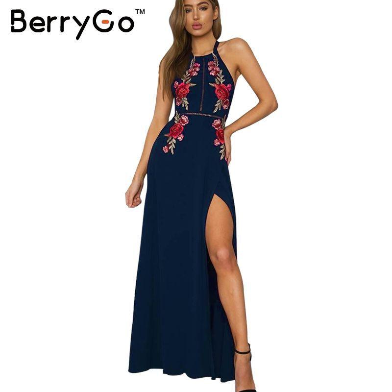 BerryGo Embroidery halter backless long dress women Sexy high split long dress 2017 Party christmas black vintage dress femme