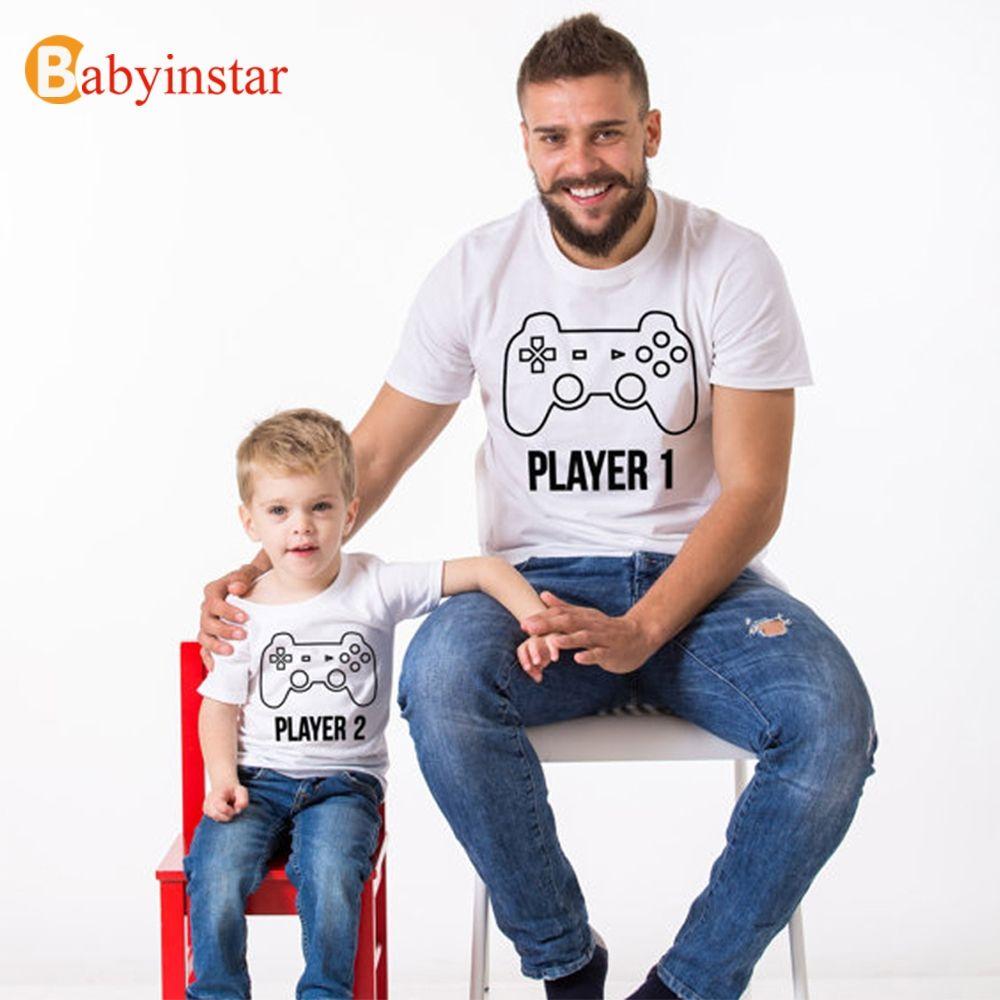 Babyinstar mode 2018 Look de famille drôle joueur imprimé été manches courtes T-shirt jeu poignée motif famille correspondant tenues