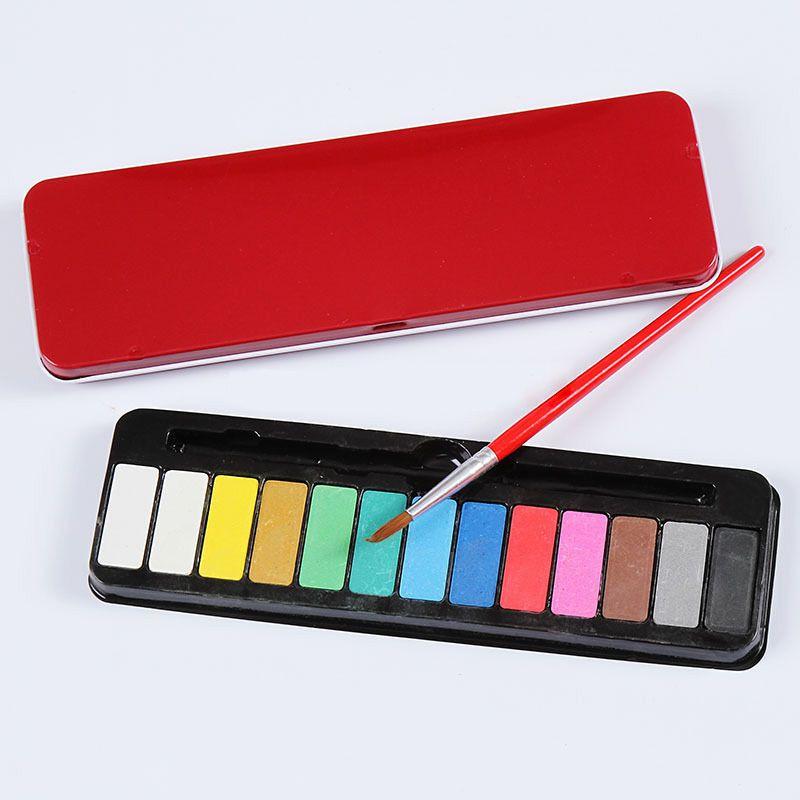 13 couleurs + 1 Pc brosse Portable boîte en fer blanc solide aquarelle peintures ensemble pour enfants étudiant peinture papeterie Art fournitures