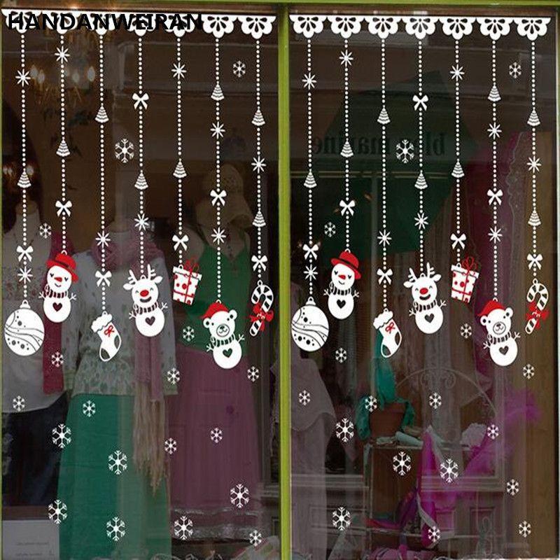 Boutique de noël fenêtre décoration De Noël autocollants autocollants en verre De Noël Bonhomme De Neige ornements accessoires fenêtre autocollants