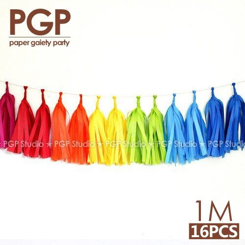 [PGP] guirlande de papier de soie arc-en-ciel, licorne carnaval de pâques bébé douche enfants filles fête d'anniversaire Trolls décorations