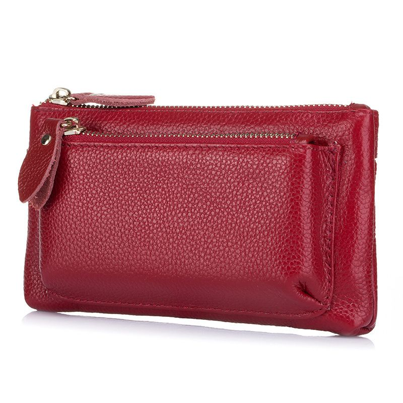 MISS YING Fashion Women Genuine Leather Double Zipper Coin Purse Female High Quality Large Capacity Wallet Cow Leather Clutch