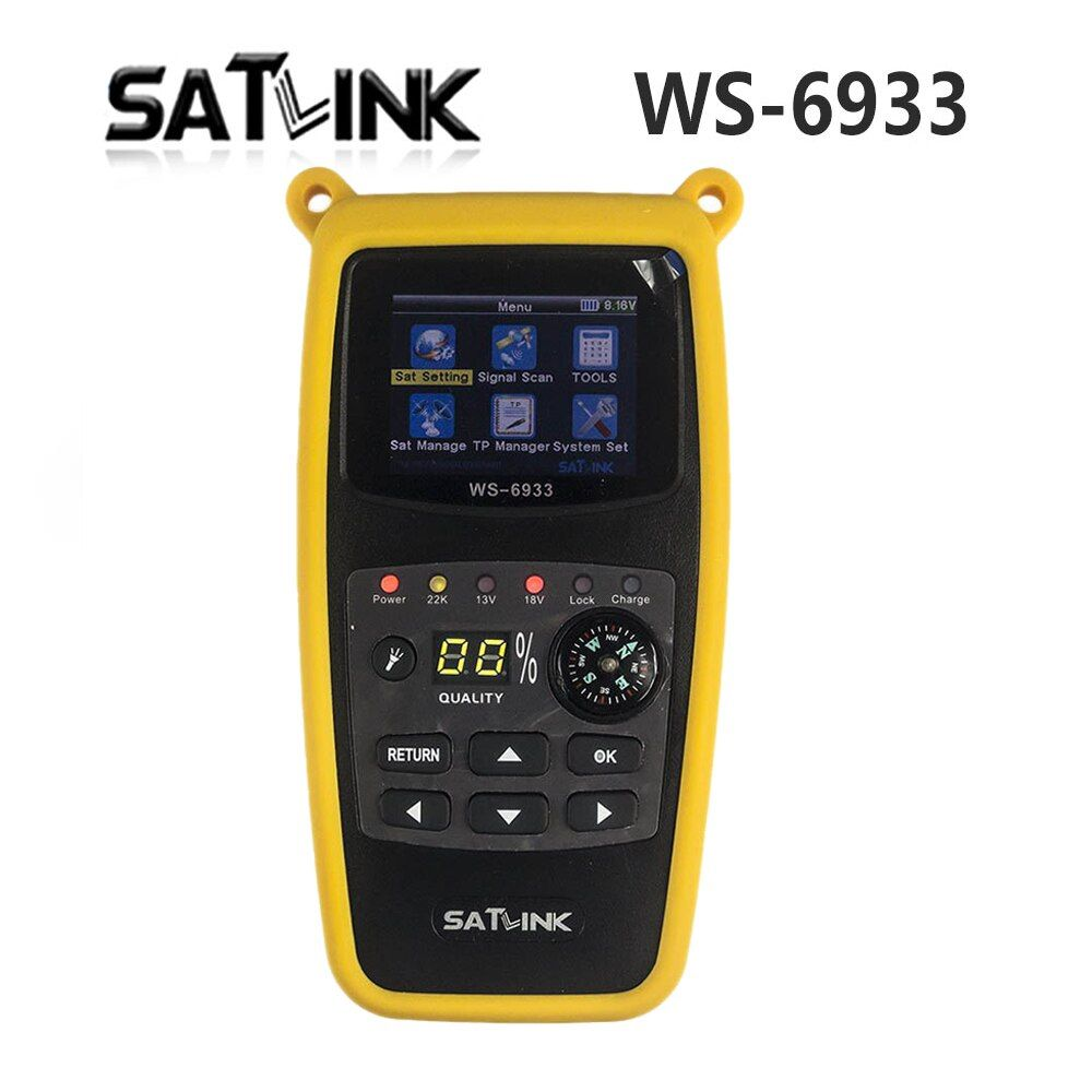 Original Satlink WS-6933 2.1 Inch LCD Display DVB-S2 FTA C&KU Band 6933 WS6933 Digital Satellite Finder Meter Free Shipping