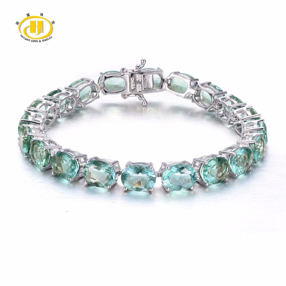 Hutang Stone Jewelry Solid 925 Sterling Silver Natural Gemstone Green Fluorite Bracelet Fine Jewelry For Women's Gift 7.5 inches