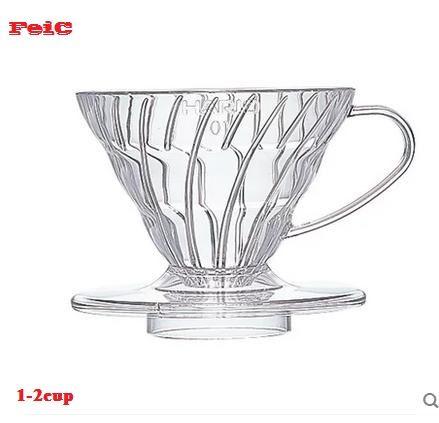 FeiC 1 pc 4 couleurs hario café goutteur V60 résine résistante à La Chaleur VD-01 2 tasses pour barista