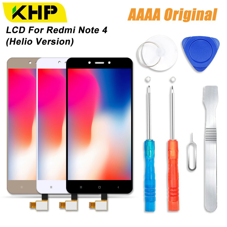 2018 KHP 100% AAAA Original LCD Screen For Xiaomi Redmi Note 4 LCD Helio Version Display Touch Module Screens Replacement