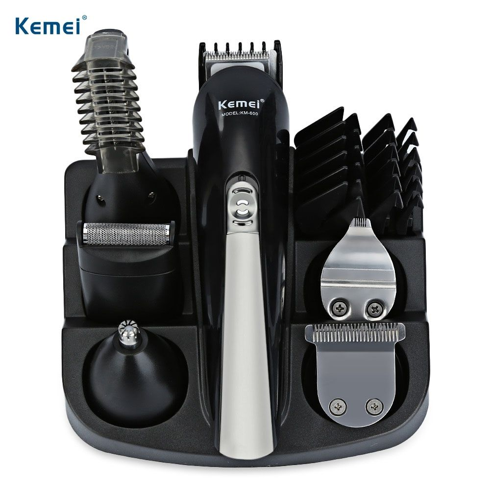 Kemei KM - 600 Professional Hair Clipper Electric Shaver Bread Nose Hair Trimmer Cutters Full Set Family Personal Care