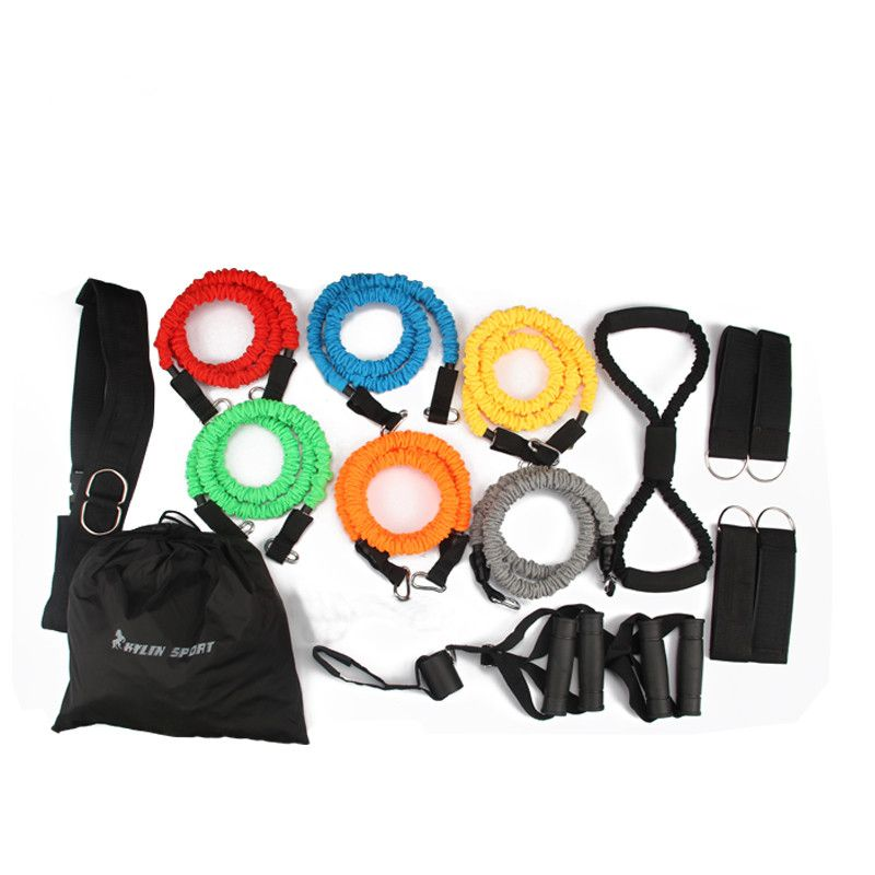 2017 new 18pcs resistance bands exercise set fitness tube yoga workout pilates for wholesale and free shipping kylin sport