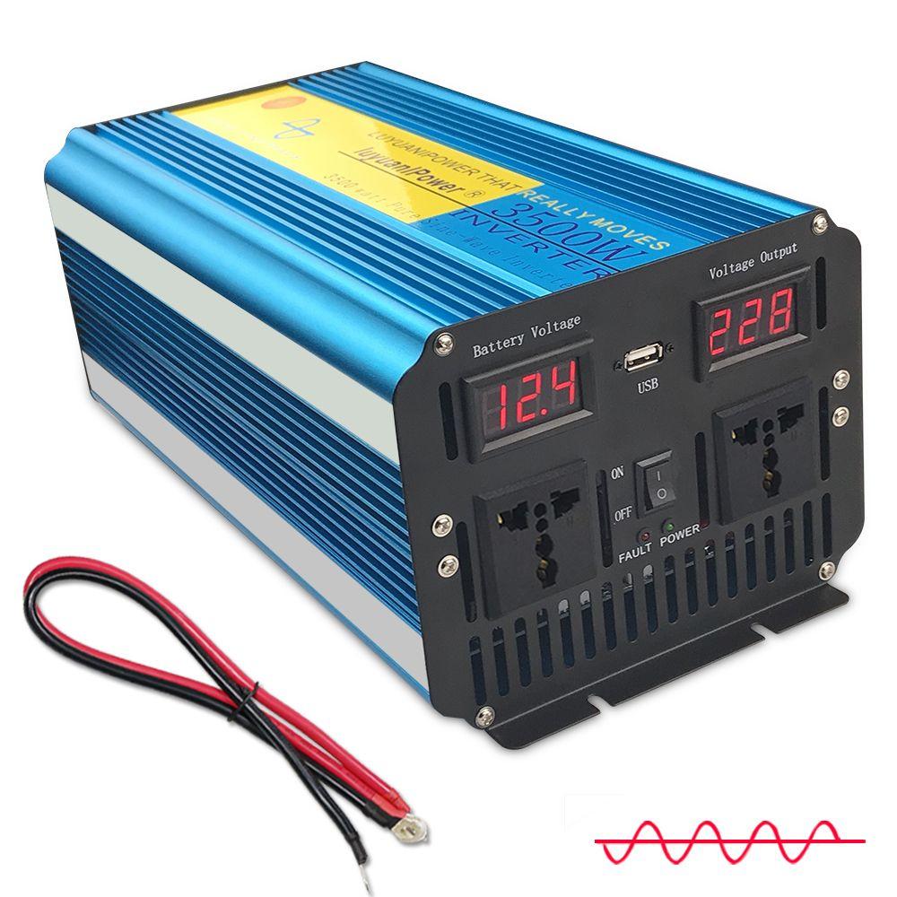 3500 W/7000 W reine sinus welle power inverter transformator DC 12 V/24 V ZU AC 220 v/230 V/240 V mit Dual Led-anzeige 3.1A USB