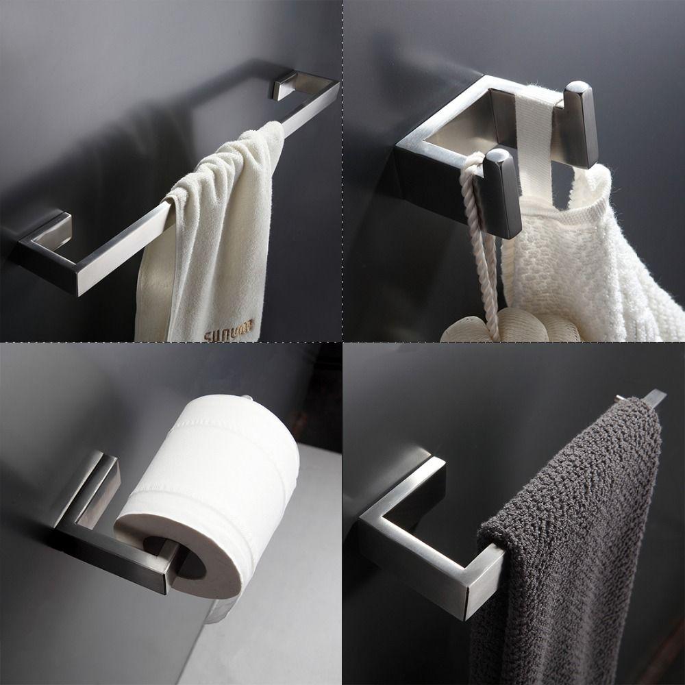 304 Edelstahl Bad Zubehör-set Einzelhandtuchhalter, Kleiderhaken, Papierhalter Bad Hardware Sets