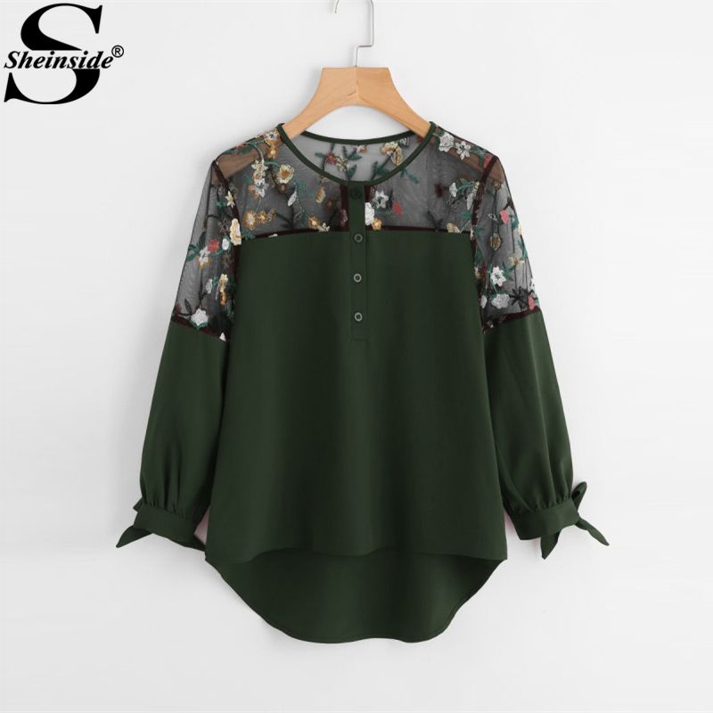 Sheinside Army Green Embroidered Lace Panel Dip Hem Tie Cuff Blouse 2017 Round Neck Long Sleeve Contrast Mesh Casual Blouse