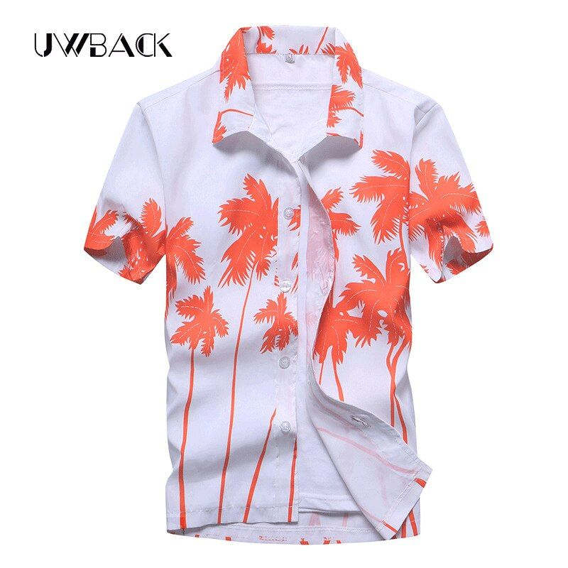 Uwback Men's Summer Hawaiian Shirts Single Breasted Light Beach Shirts Short Sleeve Breathable Plus <font><b>Size</b></font> 5XL Hawaii Shirts XA068