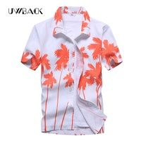 Uwback Men's Summer Hawaiian Shirts Single Breasted Light Beach Shirts Short Sleeve Breathable Plus Size 5XL Hawaii Shirts XA068