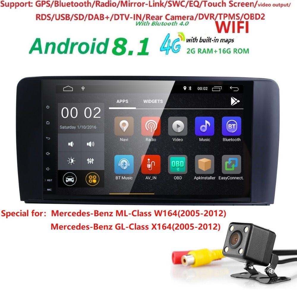 2din Car Radio gps Android 8.1 NO-DVD Multimedia Player for Mercedes Benz ML W164 ML300 GL X164 GL320 350 420 450 500 R W251280
