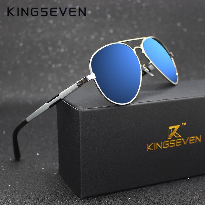 Kingseven Aluminum Magnesium Gold Fashion Polarized Lens Sunglasses Men/Women Driving Mirror Sun Glasses <font><b>Points</b></font> Male Oculos 7170