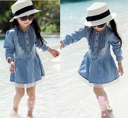 Mode Jeans Dresses Gadis Anak 2-8Y Denim Biru Indah Lace Cowboy Pakaian Lengan Panjang Gaun Anak-anak Pakaian Kasual Elegan