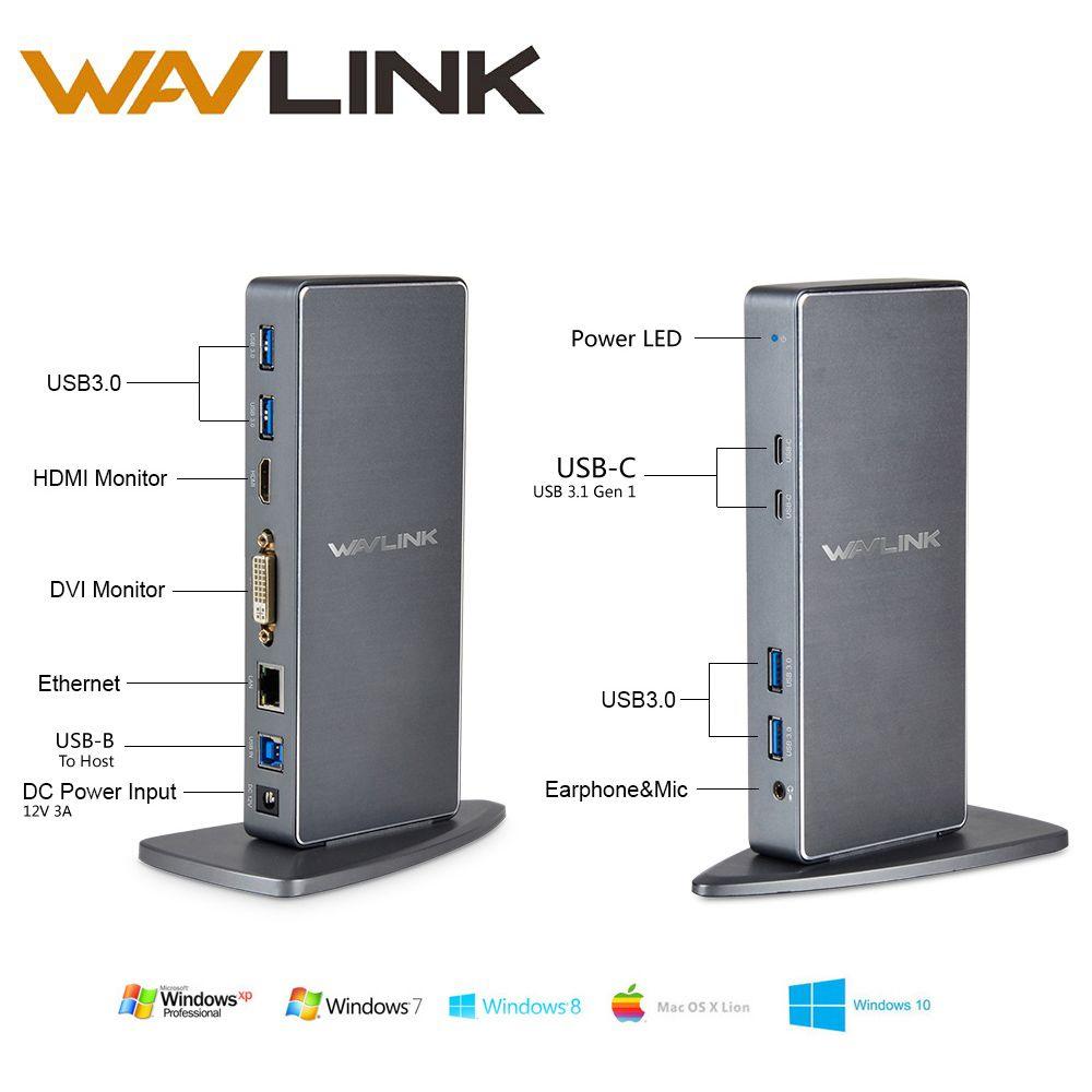 Wavlink 6 USB 3.0 Универсальный ноутбук док-станция Алюминий сплав двойной видео HDMI и dvi Gigabit Ethernet док-станция hdmi