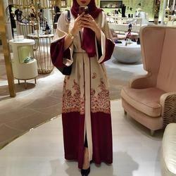 2018 moda rojo impresión mujeres del vestido musulmán Abaya Oriente Medio vestido largo vestidos Ramadan Árabe de Dubai ropa islámica a707