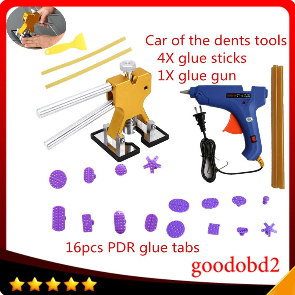 16pc Car Auto Body Paintless Dent Removal Repair Tool Kits Glue Puller with Dent Lifter+PDR glue gun 100W +4X glue sticks for VW