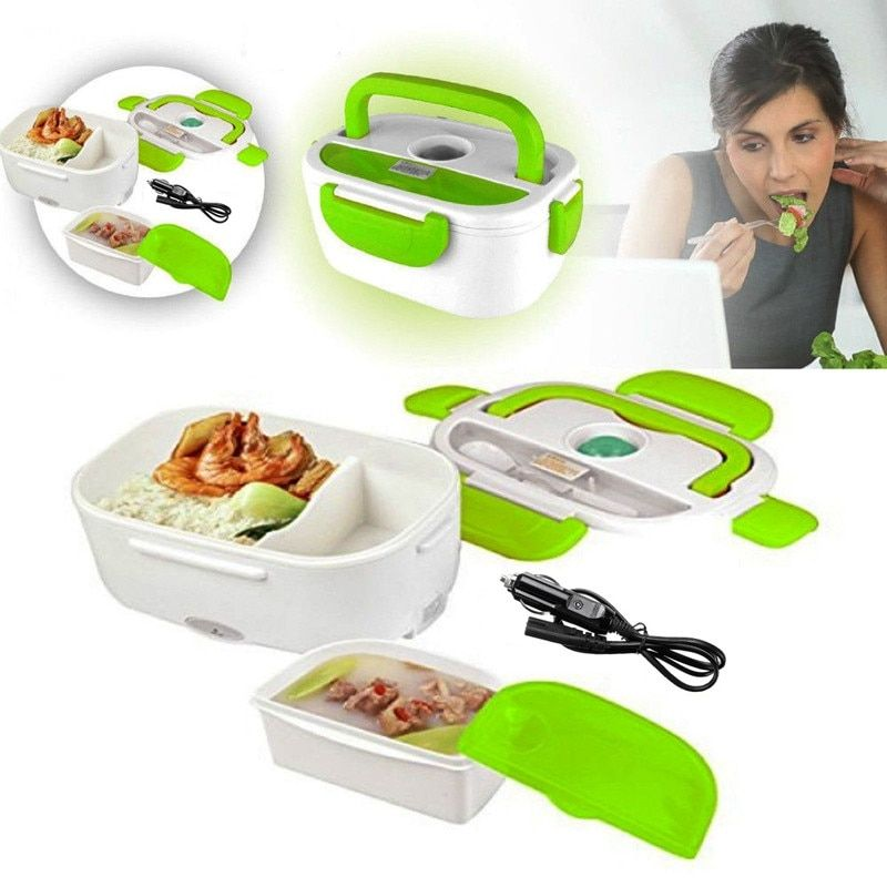 Hot 1.05L 12V Electric Heated Car Plug Heating Lunch Box Set Outdoor Picnic Food Warmer Container With Spoon kid Bento