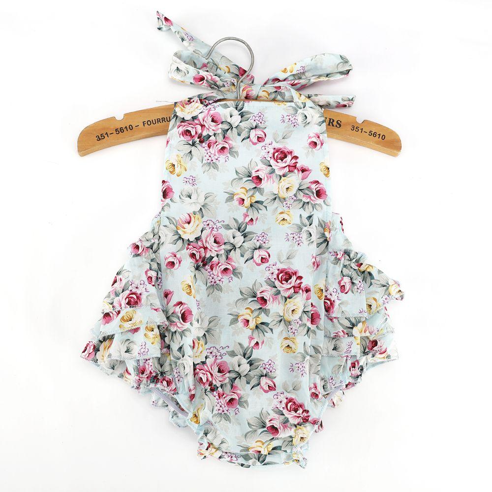 2017 de Moda de Verano Floral Con Volantes Niñas Mameluco Burbuja Sunsuit Mameluco Del Bebé de La Muchacha Pantalones de Flores Ropa de Bebé del mameluco de la Muchacha