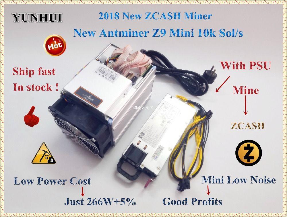 Schiff in 24 stunden Wirtschafts ZCASH Miner Bitmain Antminer Z9 Mini 10 karat Sol/s 300 watt Mit 750 watt NETZTEIL Asic Equihash Bergmann, hohe Gewinne