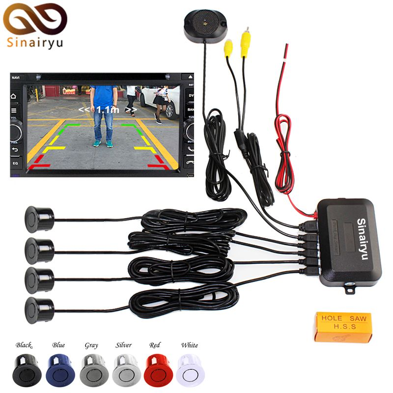 Sinairyu LCD Wire Video Parking Sensor Reverse Backup Radar Assistance, Auto parking Monitor Digital Display and Step-up Alarm