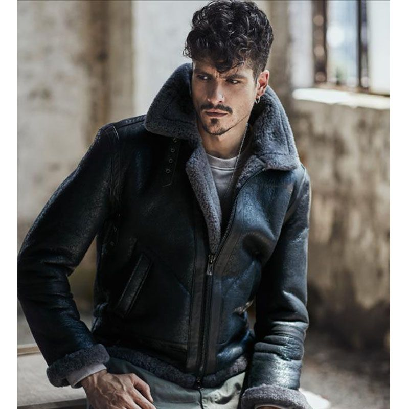 2018 New Fashion Men's Shearling Leather Jacket Dark Brown B3 Jacket Original Flying Jacket Camouflage Gray