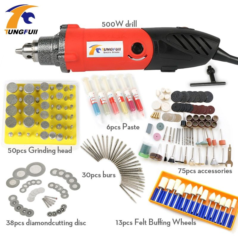 Tungfull 500W Professional Electric Mini Die Grinder Tool 0.6~6.5mm Chuck Variable Speed Rotary Tool DIY Multi Power Tools