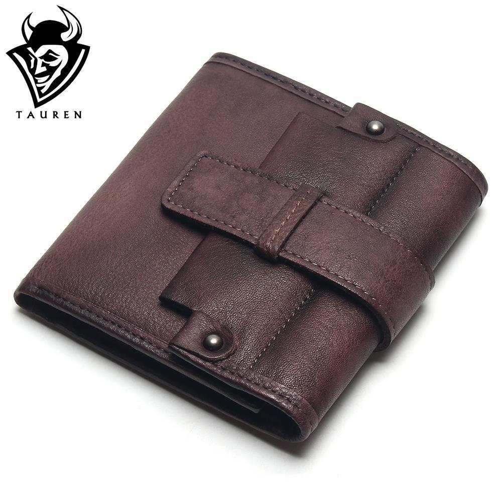 TAUREN 2018 Men Wallets Wallet Genuine Leather Hasp Wallet Retro Clutch For Men Coin Purse Card Holders Men Coffee Wallet