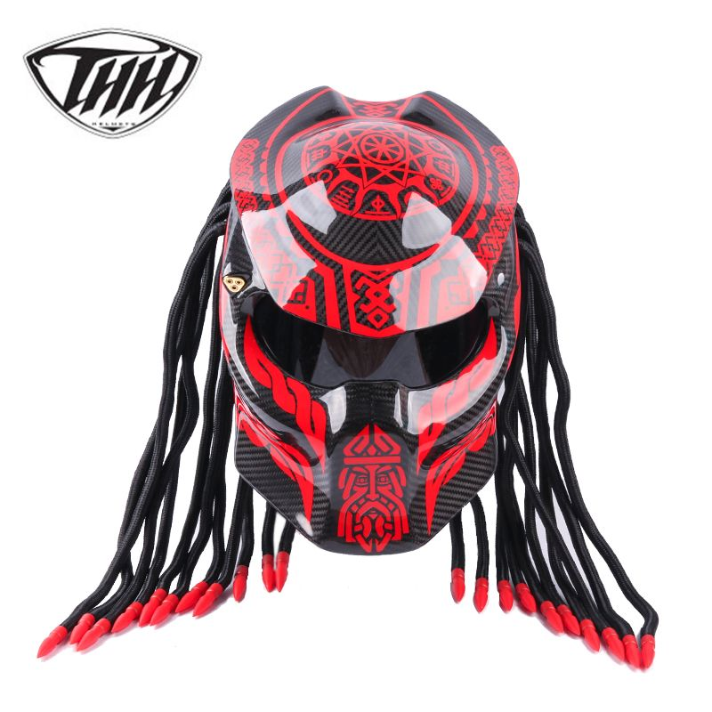 Predator Carbon Fiber Motorrad Helm Full Gesicht Iron Man Helm DOT Sicherheit Zertifizierung Hohe Qualität Schwarz Bunte