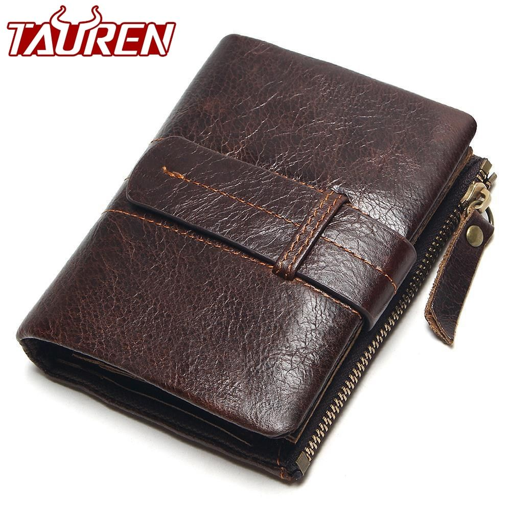 2018 Vintage Casual 100% Real Genuine Leather Oil Cowhide Men <font><b>Mini</b></font> Wallets Holder Coin Purse Pockets Small Men Wallet Coin Purse