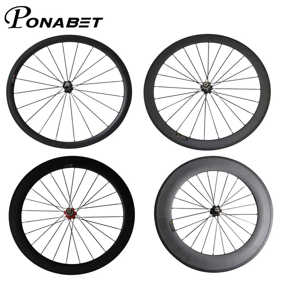 PONABET Carbon wheels for 38mm/50mm/60mm/88mm Clincher/Tubular with Novatec hub road/racing bike
