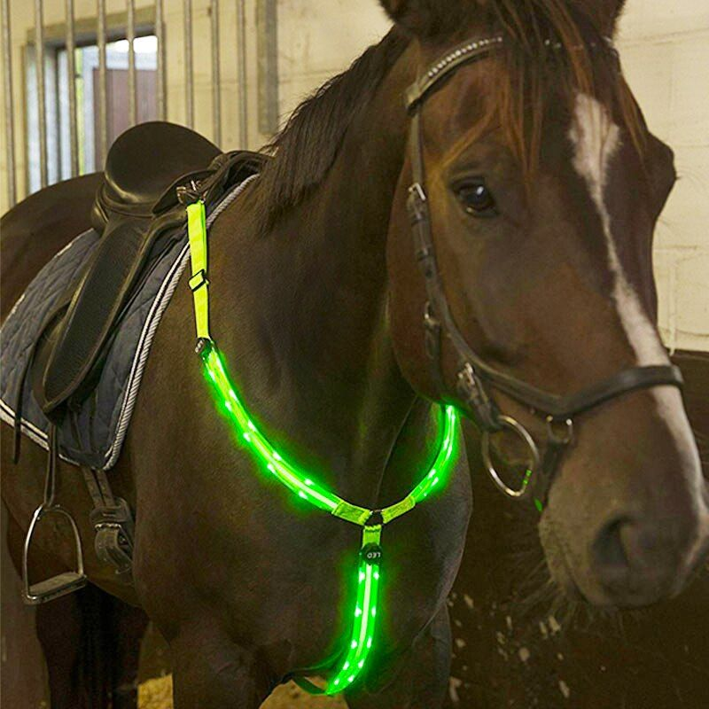 MOYLOR Horse Breastplate Dual LED Horse Harness Nylon Night Visible Horse Riding Equipment Racing Equitation Cheval Belt C