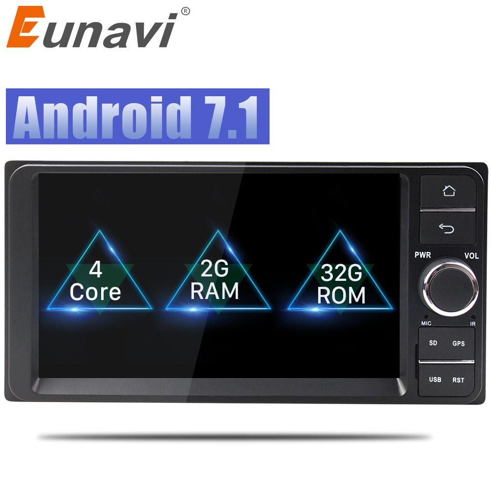 Eunavi 7'' 2 din android 7.1 8.1 Car Radio GPS Navi for Toyota Hilux VIOS Old Camry Prado RAV4 Prado 2003-2008 autoradio stereo